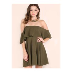 SheIn(sheinside) Olive Green Off The Shoulder Skater Dress (430 MXN) ❤ liked on Polyvore featuring dresses, green, long-sleeve shift dresses, short sleeve dress, green dress, party dresses and short sleeve shift dress