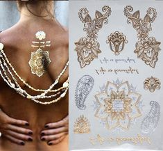 300 style Body art chain gold tattoo temporary tattoo tatoo flash tattoo metallic tattoo jewelry temporary tattoost stickers