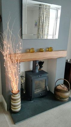 Fantastic Totally Free Fireplace Hearth grey Style Lightly Worked Oak Mantle in Light Room Cottage Living Rooms, Living Room Grey, Home Living Room, Living Room Designs, Living Room Decor, Wood Burner Fireplace, Oak Mantle, Fireplace Hearth, Log Burner Living Room