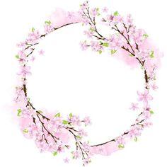 Credit to the owner Frame Floral, Flower Frame, Flower Crown, Wreath Watercolor, Watercolor Flowers, Fleur Design, Spring Pictures, Floral Border, Vintage Diy
