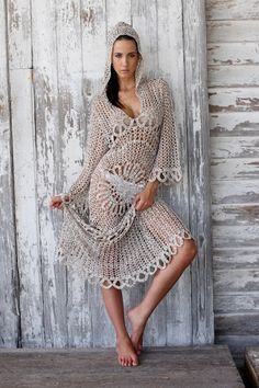 Outstanding Crochet: Monique Leshman Sunburst Crotchet Hooded Kaftan, Dress, Tunic.