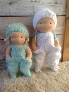 Handmade waldorfdolls, 8 and 10 inch. So sweet, so beautiful. The handknitted clothes are made of pure angora wool.