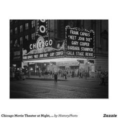 Chicago Movie Theater at Night, 1941 Poster