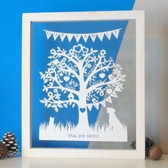 Treat a friend, family member, or yourself to a beautiful family tree papercut. The Deluxe design is our best seller tree design Sentimental Quotes, Family Tree Designs, Personalised Family Tree, First Wedding Anniversary, Unique Trees, Special Birthday, Beautiful Family, Paper Gifts, Dark Wood