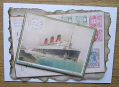 Large card. The Queen Mary image has been mounted on gold card and affixed at an angle to a further backing design. All mounted with 3d pads onto a piece of parchment giving a real vintage feel. I have continued the theme to give continuity throughout the card. Please make sure you choose the sentiment …