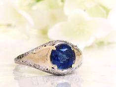 Platinum Sapphire Engagement Ring GIA Certified Cushion Cut 2.38ct Natural Sapphire Vintage Engagement Ring Diamond Wedding Ring & Appraisal