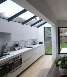 Kitchen extension / renovation with simple glass roof design, this is very achievable on your typical london terrace. (from george clarke website) Outdoor Kitchen Design, Modern Kitchen Design, Home Decor Kitchen, Kitchen Interior, New Kitchen, Kitchen Ideas, Narrow Kitchen, Dirty Kitchen Design, Glass Kitchen