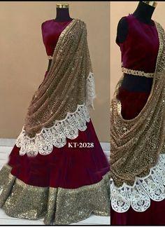 New Maroon Micro Velvet Designer Lehenga Choli  @Rs.2250 #Fancy #Designer #Latest #Heavy #Wedding #LehengaCholi