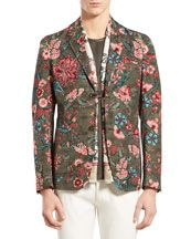 Gucci Men's Floral-Print Perforated Leather Backpack, Green Multi - Neiman Marcus