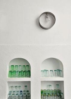 Dar Kawa: beldi glasses, handblown in Marrakech for sale by http:// www. Moroccan Design, Moroccan Decor, Moroccan Style, Design Marocain, Style Marocain, Moroccan Bedroom, Moroccan Interiors, White Interiors, Marrakech