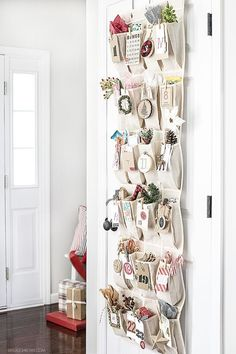 Adorable Woodland Inspired Advent Calendar using an over-the-door organizer with two different printable number tags to use on yours! Christmas Calendar, Christmas Countdown, Christmas Holidays, Christmas Crafts, Christmas Tables, Nordic Christmas, Xmas, Modern Christmas, Christmas Advent Ideas