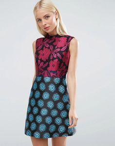 ASOS   ASOS High Neck Sleeveless Mix & Match Jacquard Dress