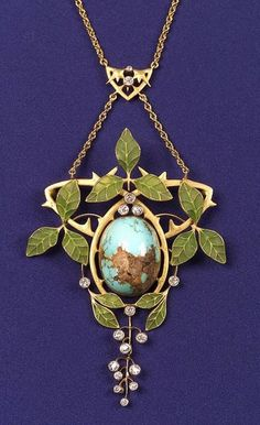 Art Nouveau 18kt Gold, Turquoise, Diamond, and Plique-a-jour Enamel Necklace