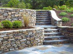Retaining Wall Steps, Backyard Retaining Walls, Sloped Backyard, Sloped Garden, Concrete Patio, Backyard Patio, Patio Stairs, Garden Stairs, Patio Design