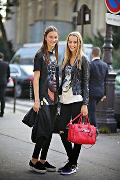 Maartje Verhoef and Julia Bergshoeff after Chanel, Paris, October 2014
