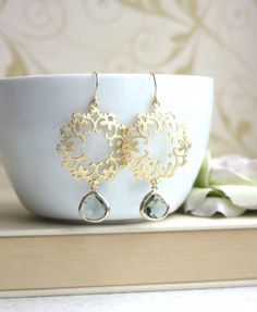 Gold Grey Moroccan, Boho Filigree Chandelier Earrings. Black Diamond Grey Glass Drop Earrings. Maid of Honor. Bridesmaids Gifts Grey Wedding