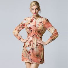 Find More Dresses Information about 2015 EUROPE STYLE PRINT FLOWER GENUINE SILK DRESS LONG SLEEVED WITH BUTTON DRESS PREPPY STYLE WORKED DRESS,High Quality flower patterned dresses,China flower dress for women Suppliers, Cheap flower collar dress from Sharewin Fashion(QEJIN) Co.,ltd on Aliexpress.com