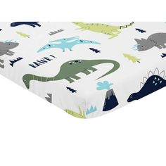 Sweet Jojo Designs Navy Blue, Turquoise and Grey Dinosaur Mod Dino Collection Fitted Mini Portable Crib Sheet, Blue/Turquoise/Green/Grey/White