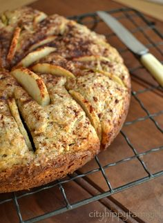 Apple Spelt Cake, CityHippyFarmGirl via RedParka (spelt flour, butter, eggs, yogurt, sugar, cinnamon, baking powder, apple)