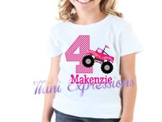 Pink Monster Truck Birthday shirt Personalized by MiniExpressions