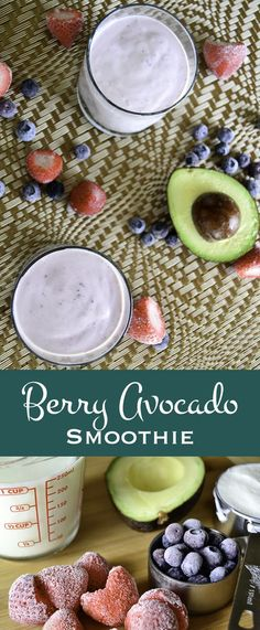 Packed full of blueberries, strawberries, avocado, and the natural protein power of greek yogurt, this smoothie is a great post workout boost.