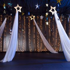 10 in. Gold Hanging Shooting Stars with Fabric 1 ft. 10 in. Gold Hanging Shooting Stars with F Star Wars Party, Star Party, Dance Themes, Prom Themes, Star Decorations, Wedding Decorations, School Dance Decorations, Church Christmas Decorations, Starry Night Prom