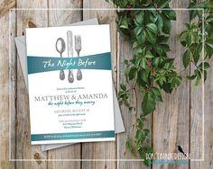 Printable Rehearsal Dinner Invitation Elegant Silverware