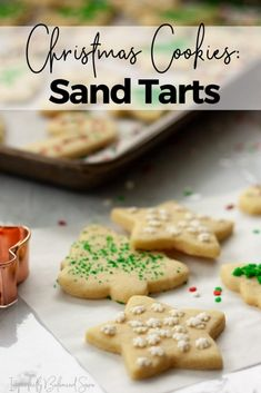 These Sand Tart cookies aren't just regular sugar cookies. Almond extract adds a unique and delicious flavor that is sure to become a household favorite. Healthy Cookies, Healthy Dessert Recipes, Sugar Cookies Recipe, Cookie Recipes, Sand Tarts, Christmas Desserts, Christmas Cookies, Holiday Recipes, Favorite Recipes