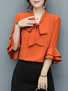 Buy Tie Collar Bowknot Plain Bell Sleeve Blouse online with cheap prices and dis… 2019 Blouse Styles, Blouse Designs, Bell Sleeve Blouse, Bell Sleeves, Dress Outfits, Fashion Dresses, Fashion Blouses, Dress Shoes, Vetement Fashion
