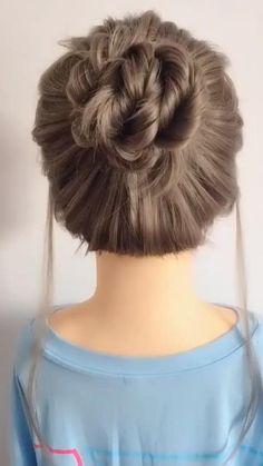 Bun Hairstyles For Long Hair, Work Hairstyles, Simple Hair Updos, Cute Updos Easy, Little Girl Wedding Hairstyles, Waitress Hairstyles, Easy Hairstyle Video, Donut Bun Hairstyles, Braided Bun Hairstyles