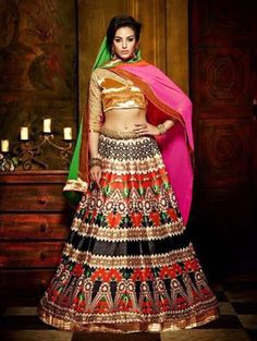 Multi Color Bangalore Silk Lehenga Choli with Embroidery Work