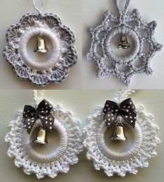 Fashion Make Christmas decorations with curtain rings . - Fashion Make Christmas decorations with curtain rings – - Crochet Snowflake Pattern, Christmas Crochet Patterns, Crochet Flower Patterns, Crochet Snowflakes, Crochet Motif, Diy Crochet, Crochet Designs, Crochet Crafts, Crochet Flowers