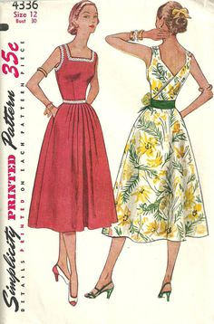 Simplicity 4336 -- 1953 dress pattern--this is pretty much identical to my bird dress