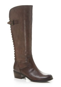 Chocolate brown leather tall boot with rounded toe