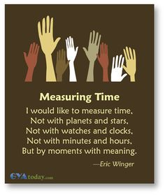 Measuring time by moments of giving