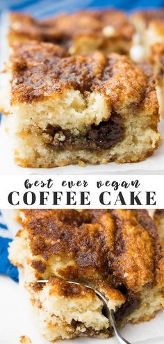 The best Vegan Coffee Cake recipe ever, and it's SO easy to make! Perfect for holiday celebrations or weekend breakfasts. The best Vegan Coffee Cake recipe ever, and it's SO easy to make! Perfect for holiday celebrations or weekend breakfasts. Vegan Treats, Vegan Foods, Vegan Dishes, Vegan Dessert Recipes, Vegan Breakfast Recipes, Whole Food Recipes, Vegan Breakfast Casserole, Vegan Baking Recipes, Vegetarian Desserts
