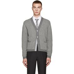 Thom Browne Grey Camel Hair Cardigan (8,270 CNY) ❤ liked on Polyvore featuring men's fashion, men's clothing, men's sweaters, mens shawl collar sweater, mens shawl collar cardigan sweater, mens grey sweater, mens striped sweater and mens cardigan sweaters