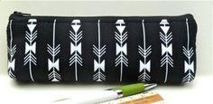 Black White Arrows Pencil Pouch Makeup Brush by nangatesdesigns