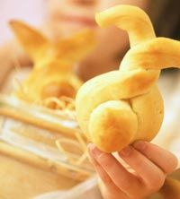 "Easter bread bunnies made from a bread dough twist. 14"" x 1/2"" ropes of dough. Extra piece for tail. 375 oven for 10 min."