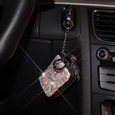 Bedazzled Car Key Holder Bag Case with Bling Rhinestones