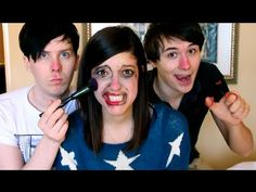 Phil and Dan Do My Make Up: AmazingCatisNotOnFire Part 2 --- I'm crying, Phil was just smearing stuff on her face and poor Dan messed up so much when he was actually trying!