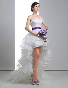 Vestido de Noiva Trapézio Sem Alças Assimétrico/Mullet ( Renda/Linho/Tule ) – BRL R$ 683,97