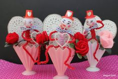 Vintage Style Cupcake Pick Valentine Fellow with by MagpieEthel