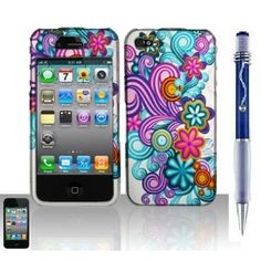 Purple Flower Premium Apple Iphone 4/4S Snap-On Phone Protector Hard Cover Case (AT, Verizon, Sprint) Plus Free Elegent Translucent Ball Point Pen