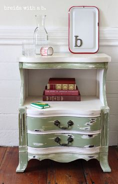 Hand Painted Green and White Night Stand by BreidaWithaB on Etsy, $165.00