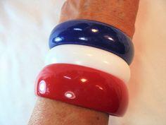 Vintage Red/White/Blue Lucite Bangle/Bracelet Lot of 3 Vintage Plastic Americana #Unbranded #Bangle