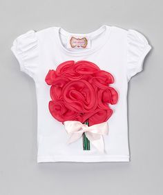 Love this White & Dark Pink Top - Infant, Toddler & Girls by Just Couture on #zulily! #zulilyfinds