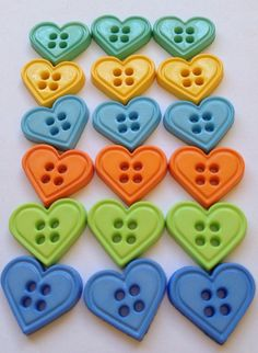 Bright Love Heart Buttons by kittiescloset,