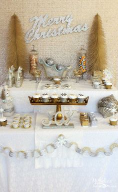 Gold + Silver Christmas Dessert Table via Kara's Party Ideas