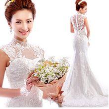 2016 fashion new style white lace v-neck carpet lace up mermaid wedding dresses plus size vestidos de noiva 9291(China (Mainland))